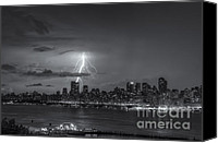 Manhattan Canvas Prints - Lightning Over New York City VI Canvas Print by Clarence Holmes