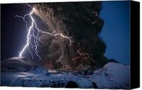 Atmospheric Canvas Prints - Lightning Pierces The Erupting Canvas Print by Sigurdur H. Stefnisson