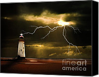 Lighthouse Canvas Prints - Lightning Storm Canvas Print by Meirion Matthias