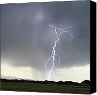 Storm Canvas Prints - Lightning Strike Canvas Print by Bill Dunford