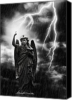 Graveyard Canvas Prints - Lightning Strikes the Angel Gabriel Canvas Print by Christopher Elwell and Amanda Haselock