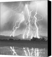 Charge Canvas Prints - Lightning Striking Longs Peak Foothills 4CBW Canvas Print by James Bo Insogna