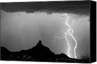 Charge Canvas Prints - Lightning Thunderstorm at Pinnacle Peak BW Canvas Print by James Bo Insogna