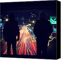 Bestfriends Canvas Prints - #lights #nyc #bestfriends #night Canvas Print by Michaelangelo Pabon