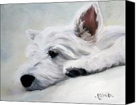 Westies Canvas Prints - Like an Angel Canvas Print by Mary Sparrow Smith