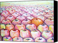 Apples Pastels Canvas Prints - Like Apples and Oranges Canvas Print by Shana Rowe