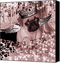 Dog Canvas Prints - lil Angels Pug in a hole Canvas Print by Tisha McGee