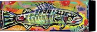 Neo Expressionism Canvas Prints - Lil Funky Folk Fish number ten Canvas Print by Robert Wolverton Jr