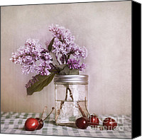 Stilllife Canvas Prints - Lilac And Cherries Canvas Print by Priska Wettstein