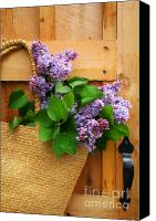 Door Digital Art Canvas Prints - Lilacs in a straw purse Canvas Print by Sandra Cunningham