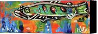 Neo Expressionism Canvas Prints - LilFunky Folk Fish number fifteen Canvas Print by Robert Wolverton Jr