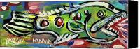 Neo Expressionism Canvas Prints - LilFunky Folk Fish number thirteen Canvas Print by Robert Wolverton Jr