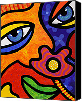Lips  Painting Canvas Prints - Lilli Lilligrin Canvas Print by Steven Scott