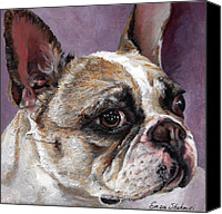 Greeting Cards Canvas Prints - Lilly The French Bulldog Canvas Print by Enzie Shahmiri