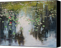Overcast Painting Canvas Prints - lily Pond  Canvas Print by Graham Gercken