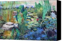 Pond Pastels Canvas Prints - Lily Pond Canvas Print by M Diane Bonaparte