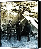 Tent Digital Art Canvas Prints - Lincoln - Pinkerton -  McClernand Canvas Print by Bill Cannon