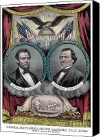 Abe Lincoln Drawings Canvas Prints - Lincoln and Johnson Election Banner 1864 Canvas Print by War Is Hell Store