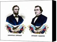 Abe Lincoln Drawings Canvas Prints - Lincoln and Johnson Canvas Print by War Is Hell Store