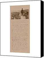 American History Mixed Media Canvas Prints - Lincoln and The Gettysburg Address Canvas Print by War Is Hell Store