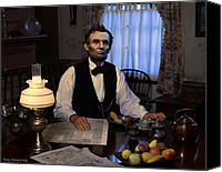 Drawings Digital Art Canvas Prints - Lincoln at Breakfast 2 Canvas Print by Ray Downing