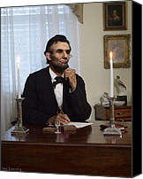 Drawings Digital Art Canvas Prints - Lincoln at his Desk 2 Canvas Print by Ray Downing