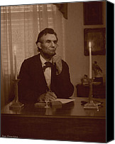 Assassination Canvas Prints - Lincoln at his Desk Canvas Print by Ray Downing