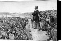 Abe Lincoln Drawings Canvas Prints - Lincoln Delivering The Gettysburg Address Canvas Print by War Is Hell Store