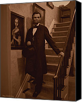 Drawings Digital Art Canvas Prints - Lincoln Descending Staircase Canvas Print by Ray Downing