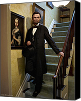 Drawings Digital Art Canvas Prints - Lincoln Descending Stairs 2 Canvas Print by Ray Downing