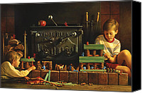 Little Boy Canvas Prints - Lincoln Logs Canvas Print by Greg Olsen