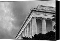 Washington Dc Canvas Prints - Lincoln Memorial - black and white - Washington DC Canvas Print by Brendan Reals