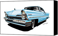 Ford Digital Art Canvas Prints - Lincoln Premier in Baby Blue Canvas Print by David Kyte