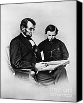 1861 Canvas Prints - Lincoln Reading To His Son Canvas Print by Photo Researchers