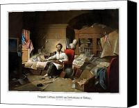 Civil War Painting Canvas Prints - Lincoln Writing The Emancipation Proclamation Canvas Print by War Is Hell Store
