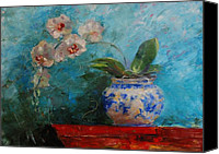 Painterly Orchids Canvas Prints - Lindstrom Vase Detail Canvas Print by Ann Bailey