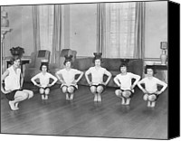 10:7 Canvas Prints - Line Of Girls (7-12) Exercising With Bowls On Heads (b&w) Canvas Print by Hulton Archive