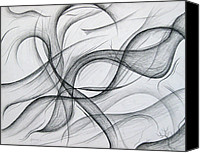 Abstract Expressionist Drawings Canvas Prints - Lines and Formations for D Canvas Print by Michael Morgan