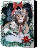 Lion Mixed Media Canvas Prints - Lion and Lamb Canvas Print by Mindy Newman