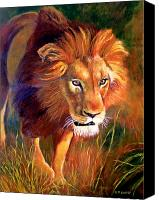 Lion Canvas Prints - Lion at Sunset Canvas Print by Michael Durst