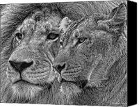 Lion Mixed Media Canvas Prints - Lion King And Queen Canvas Print by Larry Linton