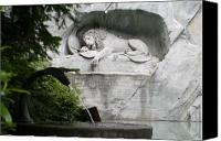 Lion Digital Art Canvas Prints - Lion Monument Lucerne Switzerland Canvas Print by Greg Sharpe