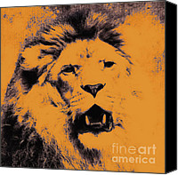 Abstract Cat Portrait Canvas Prints - Lion Pop Art Canvas Print by Angela Doelling AD DESIGN Photo and PhotoArt