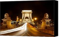 Hungary Canvas Prints - Lion Sculptures of the Chain Bridge Canvas Print by George Oze