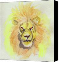 First Star Art By Jrr Canvas Prints - Lion yellow Canvas Print by First Star Art