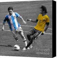 League Photo Canvas Prints - Lionel Messi and Neymar Clash of the Titans at Metlife Stadium  Canvas Print by Lee Dos Santos