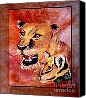 Lion Tapestries - Textiles Canvas Prints - Lioness and Cub Canvas Print by Sylvie Heasman