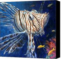 Reef Canvas Prints - Lionfish Canvas Print by Jennifer Belote