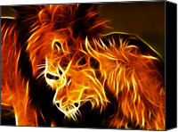 Pictures Of Cats Canvas Prints - Lions in Love Canvas Print by Pamela Johnson