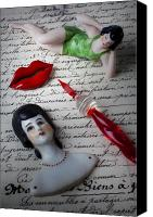 Doll Canvas Prints - Lips pen and old letter Canvas Print by Garry Gay